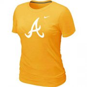 Wholesale Cheap Women's Atlanta Braves Heathered Nike Yellow Blended T-Shirt
