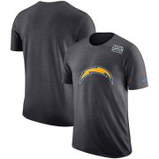 Wholesale Cheap NFL Men's Los Angeles Chargers Nike Anthracite Crucial Catch Tri-Blend Performance T-Shirt