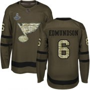 Wholesale Cheap Adidas Blues #6 Joel Edmundson Green Salute to Service Stanley Cup Champions Stitched NHL Jersey