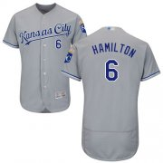 Wholesale Cheap Royals #6 Billy Hamilton Grey Flexbase Authentic Collection Stitched MLB Jersey