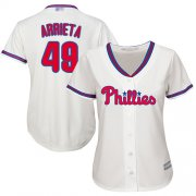 Wholesale Cheap Phillies #49 Jake Arrieta Cream Alternate Women's Stitched MLB Jersey