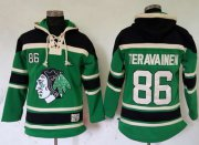 Wholesale Blackhawks #86 Teuvo Teravainen Green St. Patrick's Day McNary Lace Hoodie Stitched NHL Jersey