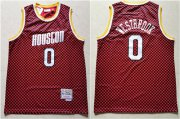 Wholesale Cheap Rockets 0 Russell Westbrook Red Checkerboard Hardwood Classics Jersey