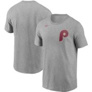 Wholesale Cheap Philadelphia Phillies Nike Cooperstown Collection Wordmark T-Shirt Heathered Gray