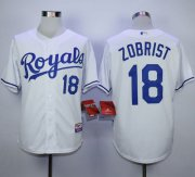 Wholesale Cheap Royals #18 Ben Zobrist White Cool Base Stitched MLB Jersey