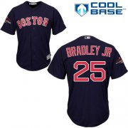 Wholesale Cheap Red Sox #25 Jackie Bradley Jr Navy Blue Cool Base 2018 World Series Stitched Youth MLB Jersey