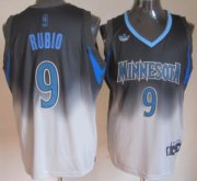 Wholesale Cheap Minnesota Timberwolves #9 Ricky Rubio Black/Gray Fadeaway Fashion Jersey