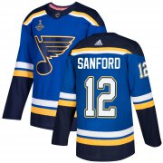 Wholesale Cheap Adidas Blues #12 Zach Sanford Blue Home Authentic 2019 Stanley Cup Champions Stitched NHL Jersey