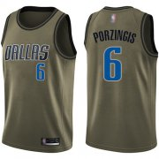Wholesale Cheap Mavericks #6 Kristaps Porzingis Green Basketball Swingman Salute to Service Jersey