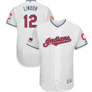 Wholesale Cheap Indians #12 Francisco Lindor White Fashion Stars & Stripes Flexbase Authentic Stitched MLB Jersey
