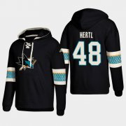 Wholesale Cheap San Jose Sharks #48 Tomas Hertl Black adidas Lace-Up Pullover Hoodie