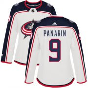 Wholesale Cheap Adidas Blue Jackets #9 Artemi Panarin White Road Authentic Women's Stitched NHL Jersey