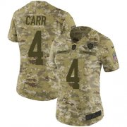 Wholesale Cheap Nike Raiders #4 Derek Carr Camo Women's Stitched NFL Limited 2018 Salute to Service Jersey