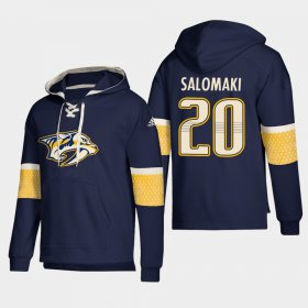 Wholesale Cheap Nashville Predators #20 Miikka Salomaki Navy adidas Lace-Up Pullover Hoodie