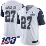 Wholesale Cheap Nike Cowboys #27 Ha Ha Clinton-Dix White Men's Stitched With Established In 1960 Patch NFL Limited Rush 100th Season Jersey