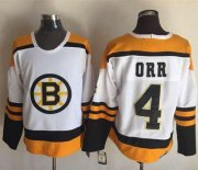 Wholesale Cheap Bruins #4 Bobby Orr Yellow/White CCM Throwback Stitched NHL Jersey