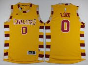 Wholesale Cheap Men's Cleveland Cavaliers #0 Kevin Love Revolution 30 Swingman 2015-16 Retro Gold Jersey