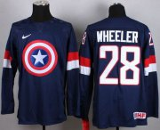 Wholesale Cheap Olympic Team USA #28 Blake Wheeler Navy Blue Captain America Fashion Stitched NHL Jersey