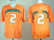 Wholesale Cheap Miami Hurricanes #2 With No Name Orange Jersey