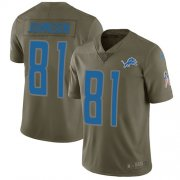 Wholesale Cheap Nike Lions #81 Calvin Johnson Olive Youth Stitched NFL Limited 2017 Salute to Service Jersey