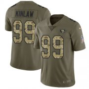 Wholesale Cheap Nike 49ers #99 Javon Kinlaw Olive/Camo Youth Stitched NFL Limited 2017 Salute To Service Jersey