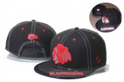 Wholesale Cheap NHL Chicago Blackhawks Team Logo Reflective Black Snapback Adjustable Hat GS1102