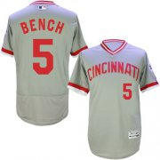 Wholesale Reds #5 Johnny Bench Grey Flexbase Authentic Collection Cooperstown Stitched Baseball Jersey