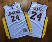 Wholesale Cheap Men's Los Angeles Lakers #24 Kobe Bryant White Finals Patch 2008-09 Hardwood Classics Soul AU Throwback Jersey