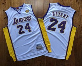 Wholesale Cheap Men\'s Los Angeles Lakers #24 Kobe Bryant White Finals Patch 2008-09 Hardwood Classics Soul AU Throwback Jersey