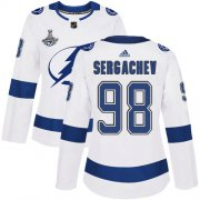 Cheap Adidas Lightning #98 Mikhail Sergachev White Road Authentic Women's 2020 Stanley Cup Champions Stitched NHL Jersey