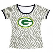 Wholesale Cheap Women's Green Bay Packers Sideline Legend Authentic Logo Zebra Stripes T-Shirt