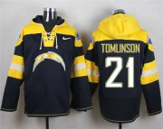 Wholesale Cheap Nike Chargers #21 LaDainian Tomlinson Navy Blue Player Pullover NFL Hoodie
