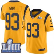 Wholesale Cheap Nike Rams #93 Ndamukong Suh Gold Super Bowl LIII Bound Youth Stitched NFL Limited Rush Jersey
