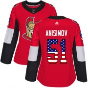 Wholesale Cheap Adidas Senators #51 Artem Anisimov Red Home Authentic USA Flag Women's Stitched NHL Jersey