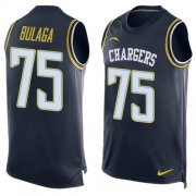 Wholesale Cheap Nike Chargers #75 Bryan Bulaga Navy Blue Team Color Men's Stitched NFL Limited Tank Top Jersey