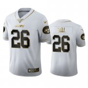 Wholesale Cheap New York Jets #26 Le'Veon Bell Men's Nike White Golden Edition Vapor Limited NFL 100 Jersey