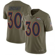 Wholesale Cheap Nike Broncos #30 Phillip Lindsay Olive Men's Stitched NFL Limited 2017 Salute To Service Jersey