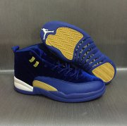 Wholesale Cheap Air Jordan 12 Retro Custom Shoes Blue/Gold-White
