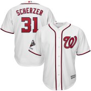 Wholesale Cheap Washington Nationals #31 Max Scherzer Majestic 2019 World Series Champions Home Official Cool Base Bar Patch Player Jersey White