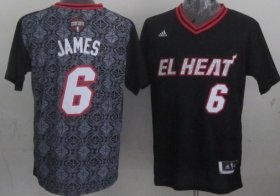 Wholesale Cheap Miami Heat #6 LeBron James Revolution 30 Swingman 2014 Noche Latina Black Jersey
