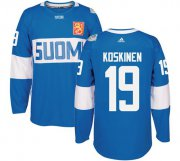 Wholesale Cheap Team Finland #19 Mikko Koskinen Blue 2016 World Cup Stitched NHL Jersey