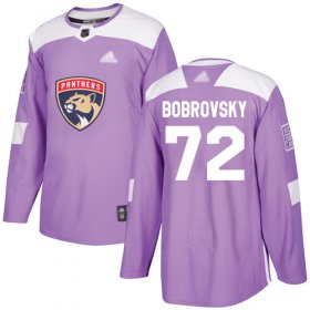 Wholesale Cheap Adidas Panthers #72 Sergei Bobrovsky Purple Authentic Fights Cancer Stitched Youth NHL Jersey