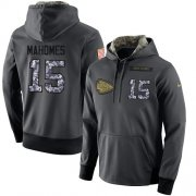 Wholesale Cheap NFL Men's Nike Kansas City Chiefs #15 Patrick Mahomes Stitched Black Anthracite Salute to Service Player Performance Hoodie
