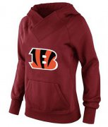 Wholesale Cheap Women's Cincinnati Bengals Logo Pullover Hoodie Red-1