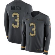 Wholesale Cheap Nike Seahawks #3 Russell Wilson Anthracite Salute to Service Men's Stitched NFL Limited Therma Long Sleeve Jersey