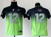 Wholesale Cheap Nike Seahawks #12 Fan Steel Blue/Green Youth Stitched NFL Elite Fadeaway Fashion Jersey