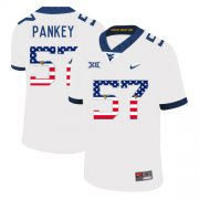 Wholesale Cheap West Virginia Mountaineers 57 Adam Pankey White USA Flag College Football Jersey