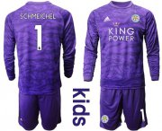 Wholesale Cheap Leicester City #1 Schmeichel Purple Goalkeeper Long Sleeves Kid Soccer Club Jersey