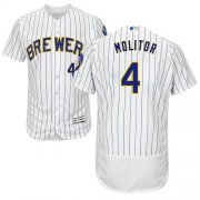 Wholesale Cheap Brewers #4 Paul Molitor White Strip Flexbase Authentic Collection Stitched MLB Jersey