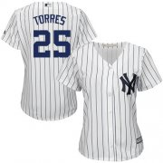 Wholesale Cheap Yankees #25 Gleyber Torres White Strip Home Women's Stitched MLB Jersey
